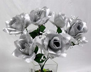 84-OPEN-ROSES-SILVER-Soft-Silk-Wedding-Flowers-Bouquets-DIY-Centerpieces