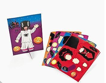 4 Halloween Girl Costumes Sticker Set Make it yourself!