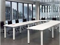 U Shaped White Boardroom Table Seats 11-13