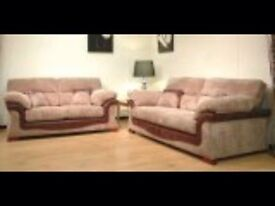 new brown leather 3 and 2 seater with fabric and leather BARGAIN REDUCED TO SELL