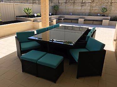 New Outdoor Wicker 19 Piece Dining Setting Table Chairs Garden