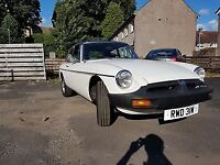 REDUCED 1981 white MGB GT with black Vinyl roof for sale in pristine condition.