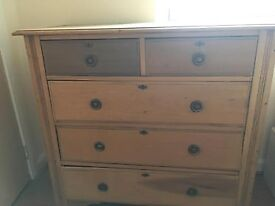 Vintage Victorian Stripped Pine Chest of Five Drawers