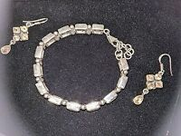 Beautiful sterling silver citrine bracelet and matching citrine drop earrings