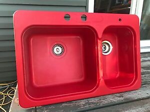 Retro Red Double Sink for Sale