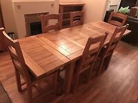 Solid oak dining table, with detachable ends, and 6 chairs - 8 feet long and 33 inches wide