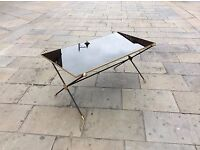 1950s French gold framed coffee table with original glass