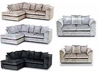 ** DYLAN CRUSH VELVET SOFAS ** BRAND NEW - DYLAN 3+2 / CORNER SOFAS ** ( SAME DAY DELIVERY ) -