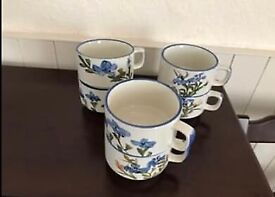 6 Soup Bowls/mugs made of stoneware in grey with flower design