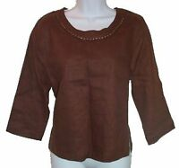 Linen Beaded Top Blouse Tunic - NEW