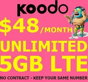 KOODO $48 UNLIMITED 5GB DATA Plan! Keep Same #! NO CONTRACT!