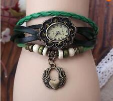 VINTAGE RETRO BEADED BRACELET LEATHER WOMEN WRIST WATCH -FLYING HEART GREEN