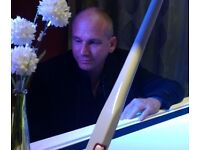 Pianist with stunning yamaha accoustic white grand piano available for events and functions.