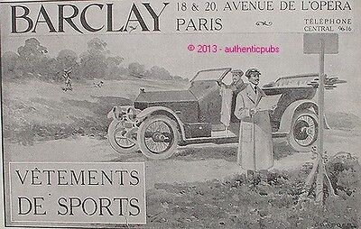 PUBLICITE BARCLAY VETEMENTS DE SPORT AUTOMOBILE CHASSEUR DE 1926 FRENCH AD PUB