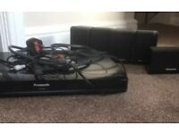 Panasonic DVD player with ipod dock inc Surround Sound Speakers built in amplifier with wires cables