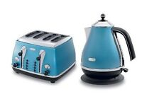 Delonghi teal blue kettle and toaster cost £80 each
