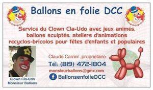 Service de clown- sculpteur avec jeux animés