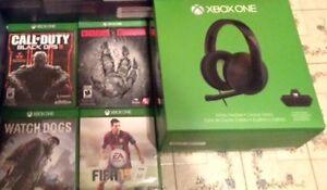 Jeux et écouteur Xbox one comme neuf