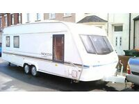 Elddis Sirocco Crusader 2000, Double wheel Base, 4 Berth, Good Conddition with Porch Awning.