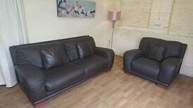DFS DARK MOCHA BROWN LEATHER PROFESSIONALLY REFURBISHED 3 SEATER & CHAIR