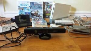 Nintendo Wii, DS Lite, Kinect Xbox 360, and Many Games.