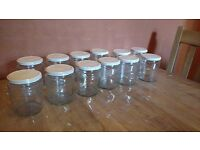 12 Jars jam size white lid