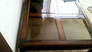 Square Wood & Glass Coffee Table