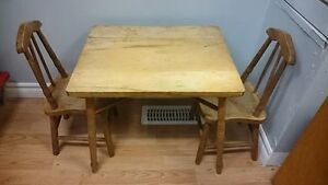 Wooden Antique Children's table and Chairs