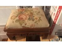Rosewood Footstool with Handmade Needlework
