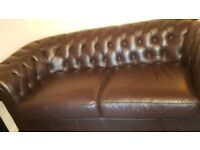 Good as new leather chesterfield 3 seater sofa.