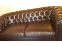 Good as new leather chesterfield sofa and chair suite.