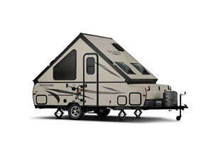 A frame camping trailer