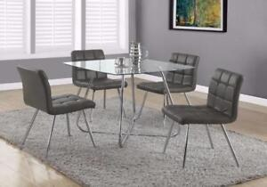 CA 499 GLASS DINING TABLE W GRAY CHAIRS