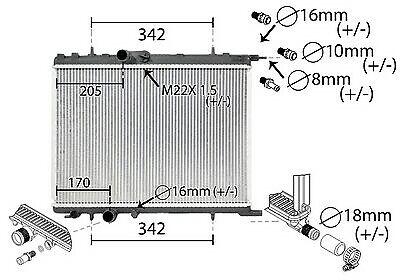 Enfriador, Refrigeración Del Motor Ir Plus con Accesorios para Peugeot 206 307