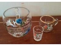 Vintage Austrian decorated beer, wine and shot glasses