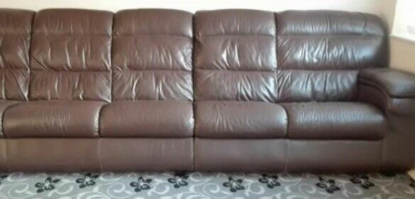 5 Seater brown real leather sofa