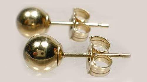 High Quality 14kt Gold 5mm Ball Studs Ancient Russian Scythians Himyarites Nubia