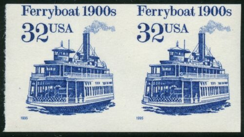 "#2466a ""ferryboat"" Vf Og Nh Imperf Pair Major Error Cv $375 Bt9548"