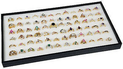 72 Ring White Display Insert W Black Plastic Travel Stackable Jewelry Tray