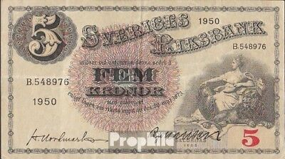 Schweden Pick-Nr: 33ag (1950) gebraucht (III) 1950 5 Kronor