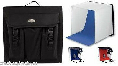 PORTABLE MINI PHOTO STUDIO WITH RED and BLUE BACKGROUNDS PLUS CARRY BAG