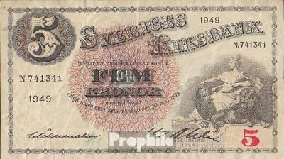 Schweden Pick-Nr: 33af (1949) gebraucht (III) 1949 5 Kronor