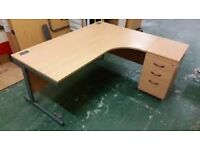 Verco Beech Corner Desk L1600 x W1400 x D800 x H730mm - Free Delivery / Reduced