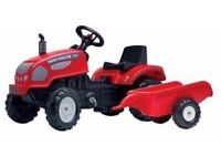 Falk Pedal Tractor and Trailer Ride On Farm Master Kids Boys Garden Toy in Red BRAND NEW IN BOX