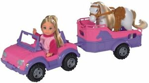Puppe Simba Evi Love Spielzeug Mädchen Kinder Pferd Jeep Wagen Auto Hänger Rosa