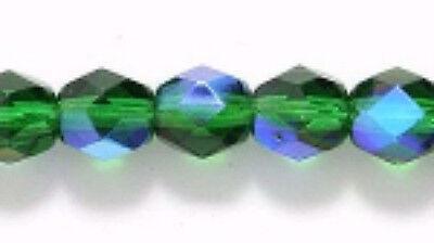 6mm Dk Christmas Green AB, Czech Glass Fire Polish Beads, 50 XMAS