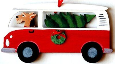 Airedale Terrier Dog Hippie Bus Van Wood Handpainted 3-D Christmas Ornament  USA