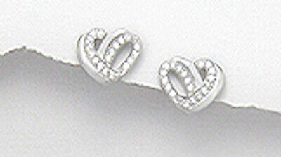 2.06g Solid Sterling Silver Sparkling CZs 8mmx10mm Love Knot Heart Stud Earrings