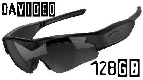 128GB daVideo Rikor 1080P HD Camera Glasses Video Recording Sport Sunglasses DVR