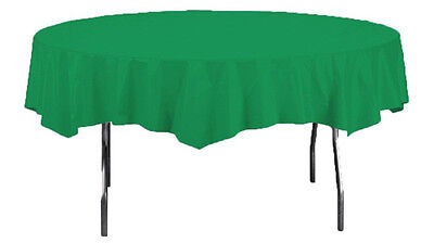 EMERALD GREEN ROUND PLASTIC TABLE COVER ~ Birthday Wedding Party Supplies Cloth Emerald Green Plastic Table